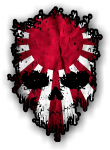 Dripping Skull With Rising Sun Flag external Vinyl Car Sticker 85x120mm